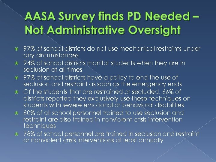 AASA Survey finds PD Needed – Not Administrative Oversight 97% of school districts do