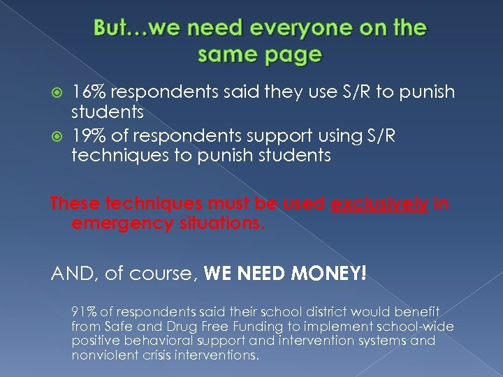But…we need everyone on the same page 16% respondents said they use S/R to