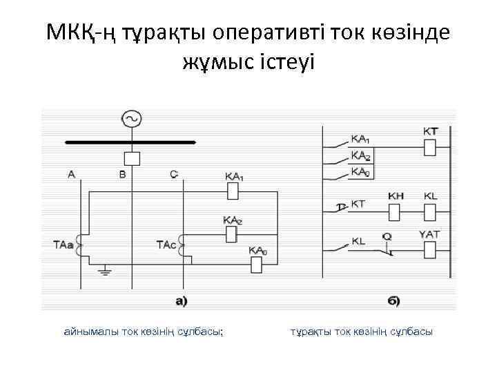 МКҚ-ң тұрақты оперативті ток көзінде жұмыс істеуі айнымалы ток көзінің сұлбасы; тұрақты ток көзінің