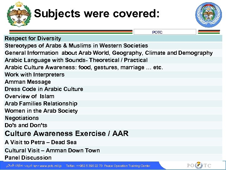 Subjects were covered: POTC Respect for Diversity Stereotypes of Arabs & Muslims in Western