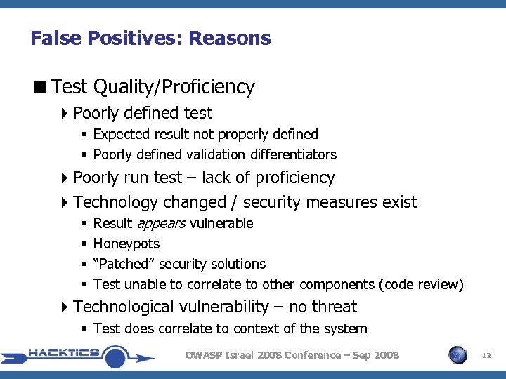 False Positives: Reasons <Test Quality/Proficiency 4 Poorly defined test § Expected result not properly