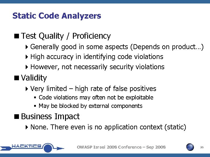 Static Code Analyzers <Test Quality / Proficiency 4 Generally good in some aspects (Depends