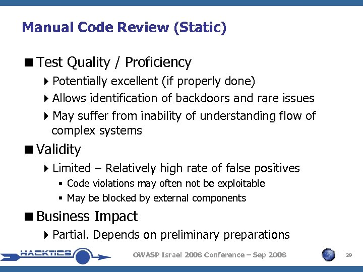 Manual Code Review (Static) <Test Quality / Proficiency 4 Potentially excellent (if properly done)