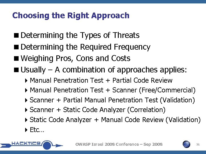 Choosing the Right Approach <Determining the Types of Threats <Determining the Required Frequency <Weighing