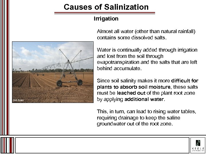 Causes of Salinization Irrigation Almost all water (other than natural rainfall) contains some dissolved