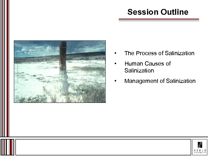 Session Outline • The Process of Salinization • Human Causes of Salinization • Management