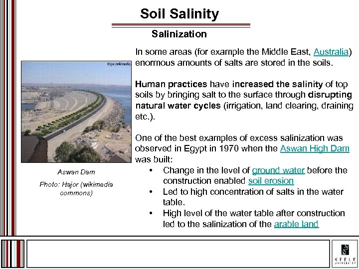 Soil Salinity Salinization In some areas (for example the Middle East, Australia) enormous amounts