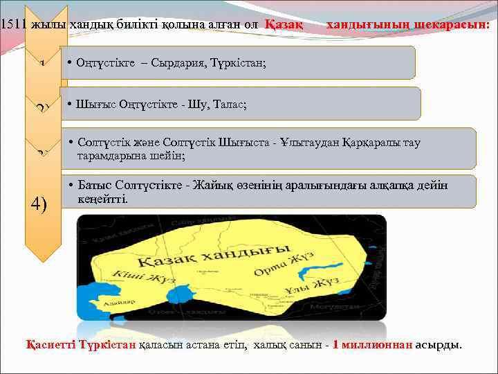1511 жылы хандық билікті қолына алған ол Қазақ 1) • Оңтүстікте – Сырдария, Түркістан;