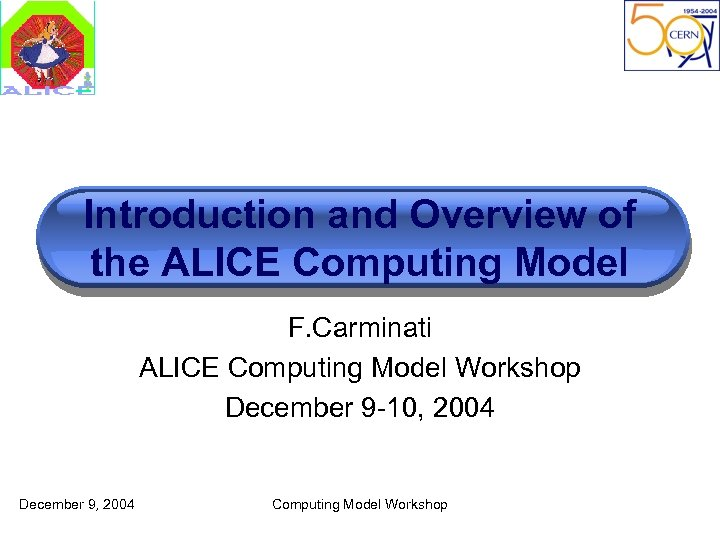 Introduction and Overview of the ALICE Computing Model F. Carminati ALICE Computing Model Workshop
