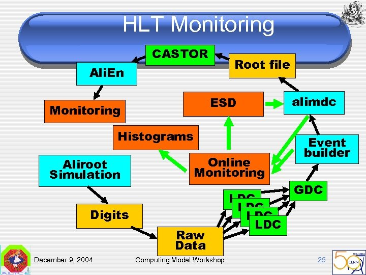 HLT Monitoring CASTOR Root file Ali. En ESD Monitoring Histograms Aliroot Simulation Online Monitoring