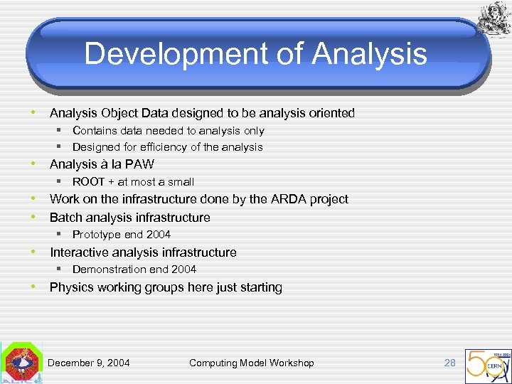 Development of Analysis • Analysis Object Data designed to be analysis oriented § Contains