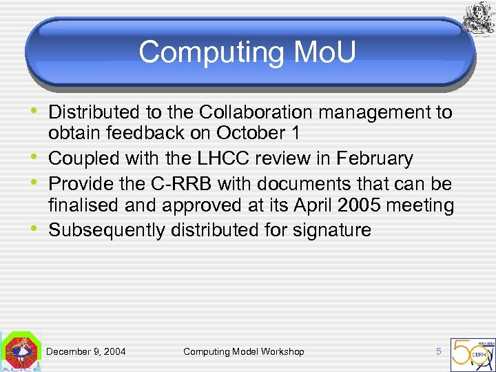 Computing Mo. U • Distributed to the Collaboration management to • • • obtain