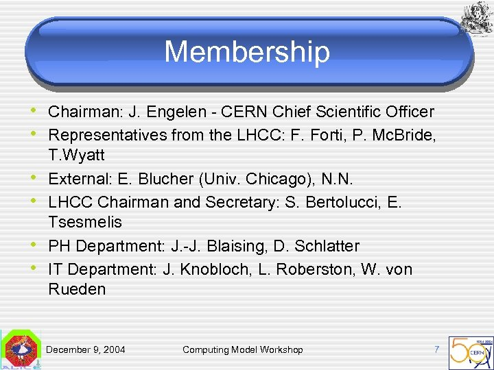 Membership • Chairman: J. Engelen - CERN Chief Scientific Officer • Representatives from the