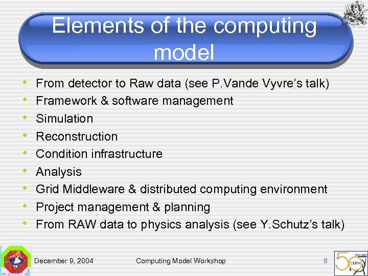 Elements of the computing model • • • From detector to Raw data (see