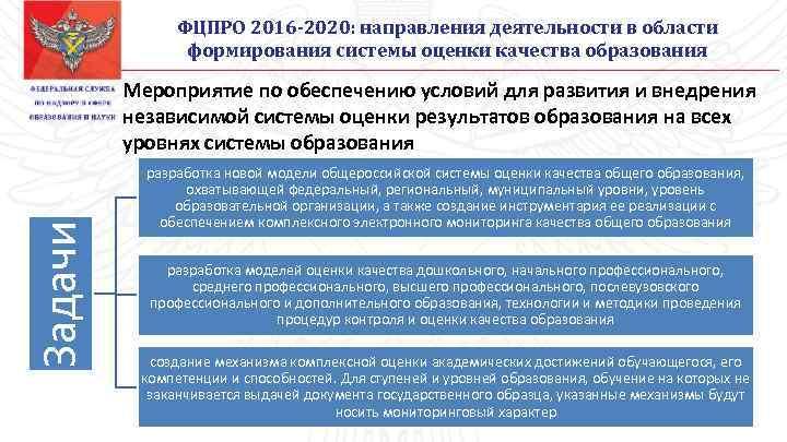 ФЦПРО 2016 -2020: направления деятельности в области формирования системы оценки качества образования Задачи Мероприятие