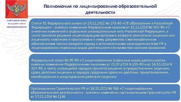 Полномочия по лицензированию образовательной деятельности Статья 91 Федерального закона от 29. 12. 2012 №