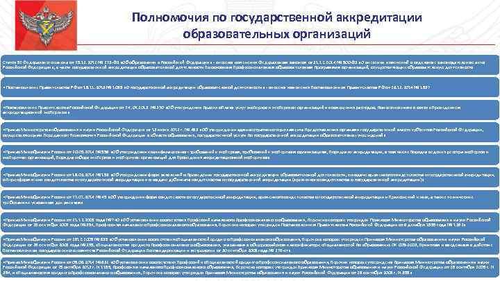 Полномочия по государственной аккредитации образовательных организаций Статья 92 Федерального закона от 29. 12. 2012