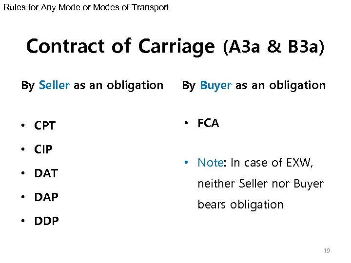 Rules for Any Mode or Modes of Transport Contract of Carriage (A 3 a