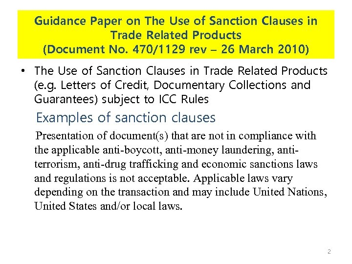 Guidance Paper on The Use of Sanction Clauses in Trade Related Products (Document No.