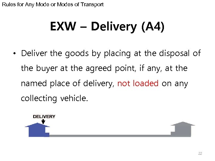 Rules for Any Mode or Modes of Transport EXW – Delivery (A 4) •