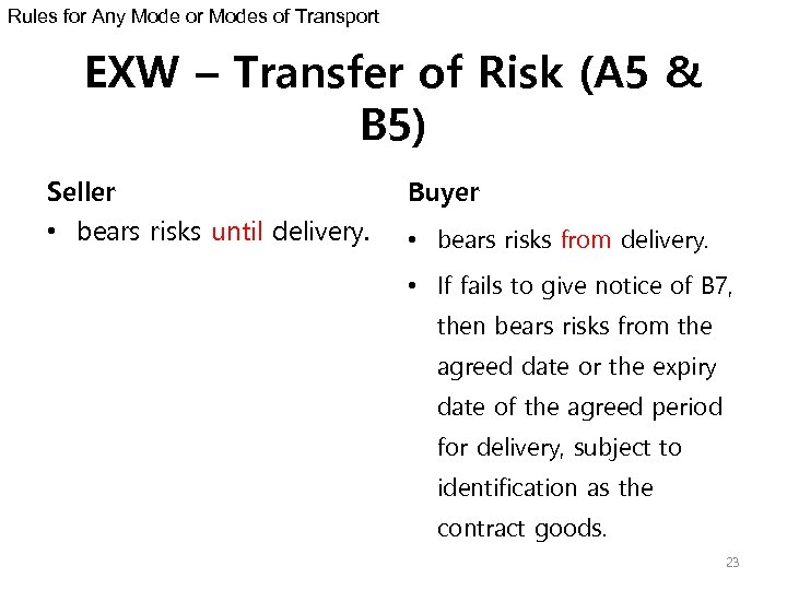 Rules for Any Mode or Modes of Transport EXW – Transfer of Risk (A