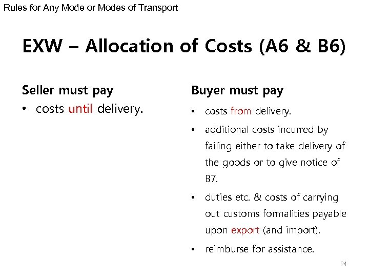 Rules for Any Mode or Modes of Transport EXW – Allocation of Costs (A