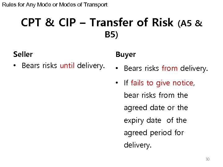 Rules for Any Mode or Modes of Transport CPT & CIP – Transfer of