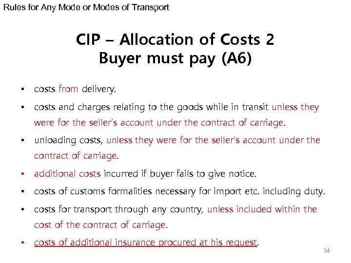 Rules for Any Mode or Modes of Transport CIP – Allocation of Costs 2