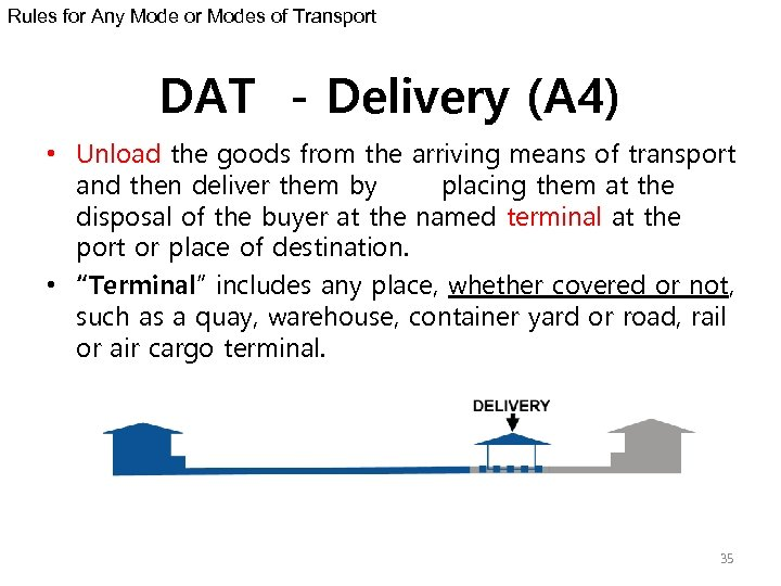 Rules for Any Mode or Modes of Transport DAT - Delivery (A 4) •