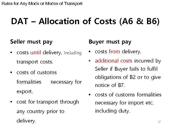 Rules for Any Mode or Modes of Transport DAT – Allocation of Costs (A