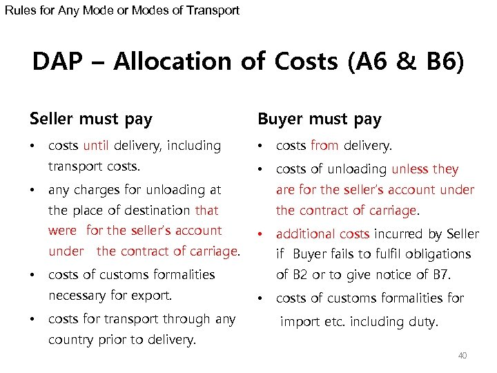 Rules for Any Mode or Modes of Transport DAP – Allocation of Costs (A