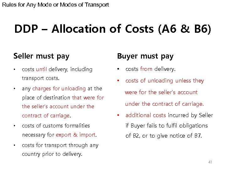 Rules for Any Mode or Modes of Transport DDP – Allocation of Costs (A