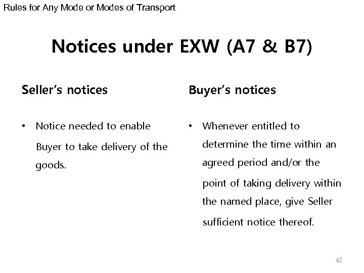 Rules for Any Mode or Modes of Transport Notices under EXW (A 7 &