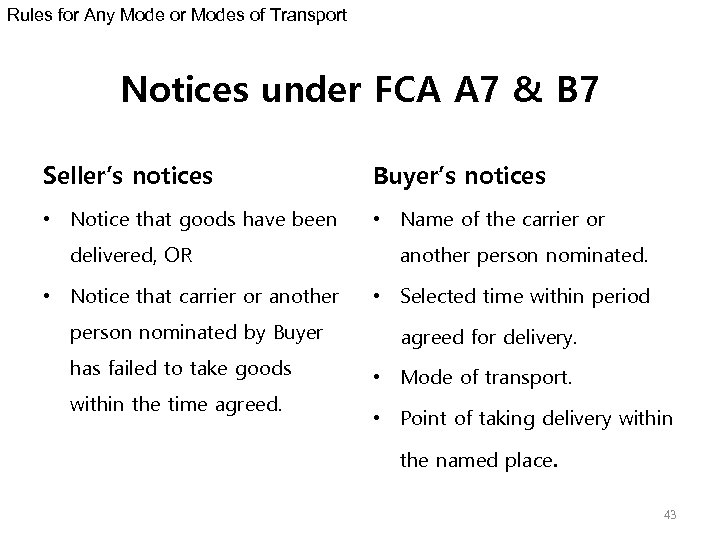 Rules for Any Mode or Modes of Transport Notices under FCA A 7 &