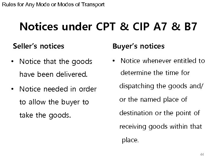Rules for Any Mode or Modes of Transport Notices under CPT & CIP A