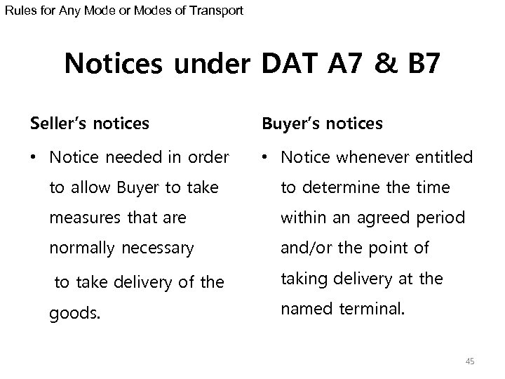 Rules for Any Mode or Modes of Transport Notices under DAT A 7 &