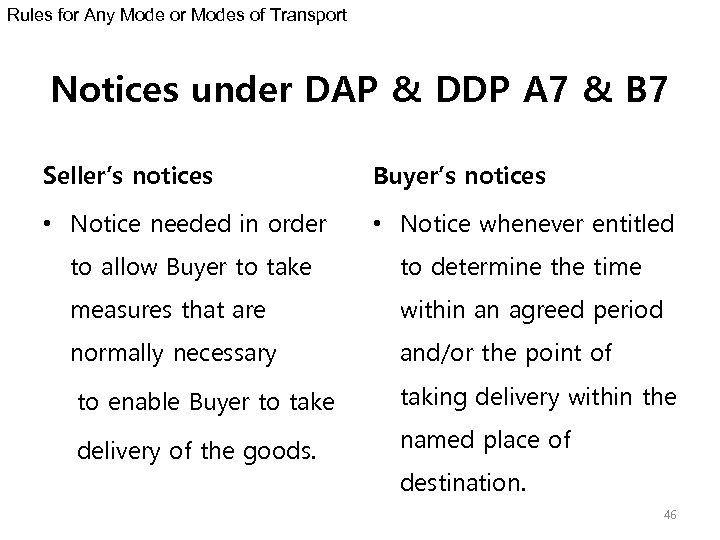 Rules for Any Mode or Modes of Transport Notices under DAP & DDP A