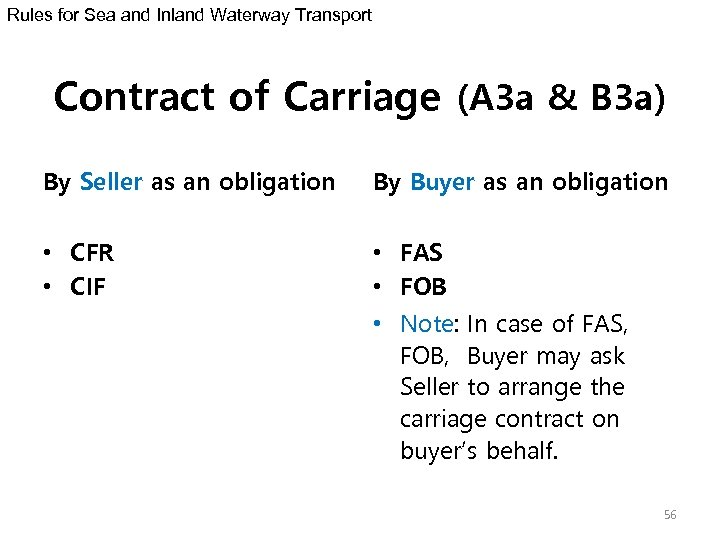 Rules for Sea and Inland Waterway Transport Contract of Carriage (A 3 a &