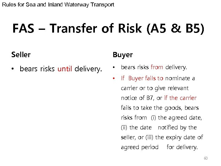 Rules for Sea and Inland Waterway Transport FAS – Transfer of Risk (A 5