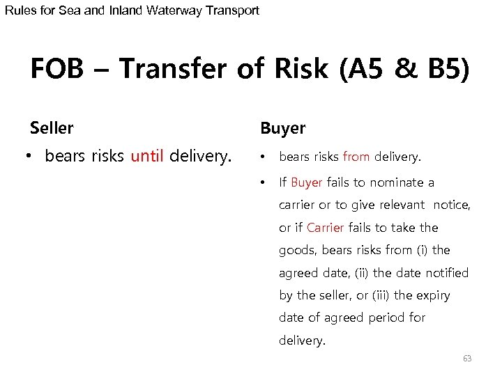 Rules for Sea and Inland Waterway Transport FOB – Transfer of Risk (A 5