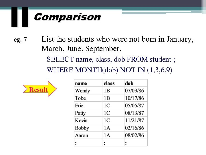 II eg. 7 Comparison List the students who were not born in January, March,