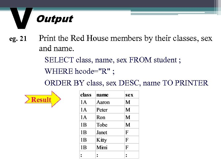 V eg. 21 Output Print the Red House members by their classes, sex and