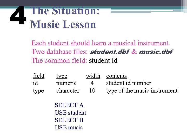 4 The Situation: Music Lesson Each student should learn a musical instrument. Two database