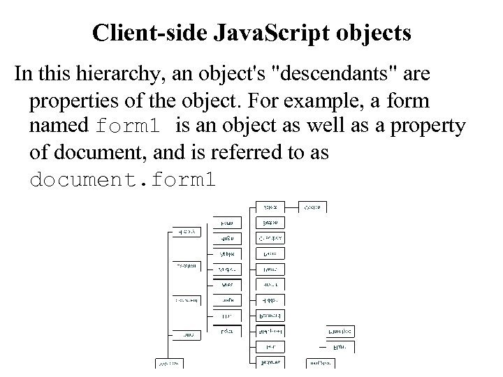 Client-side Java. Script objects In this hierarchy, an object's
