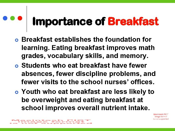 Importance of Breakfast establishes the foundation for learning. Eating breakfast improves math grades, vocabulary