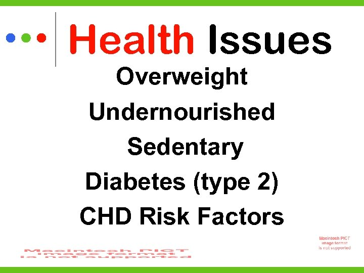 Health Issues Overweight Undernourished Sedentary Diabetes (type 2) CHD Risk Factors