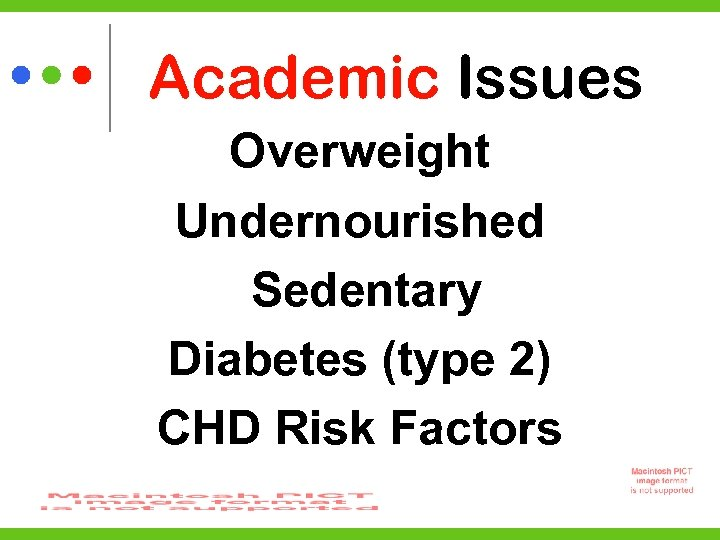 Academic Issues Overweight Undernourished Sedentary Diabetes (type 2) CHD Risk Factors