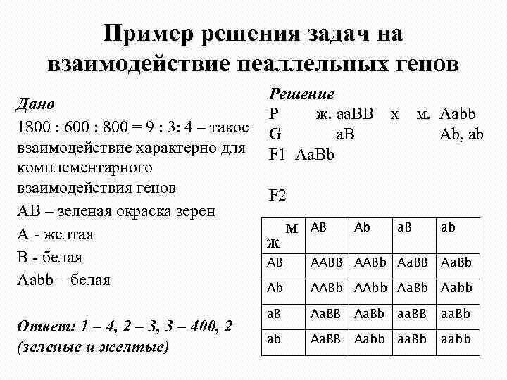 Комплементарное взаимодействие генов задачи с решением решение задачи за 5 класс по математике виленкин