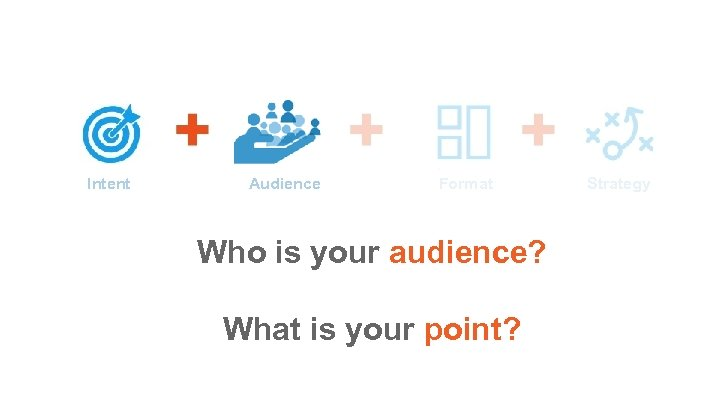 Intent Audience Format Who is your audience? What is your point? Strategy