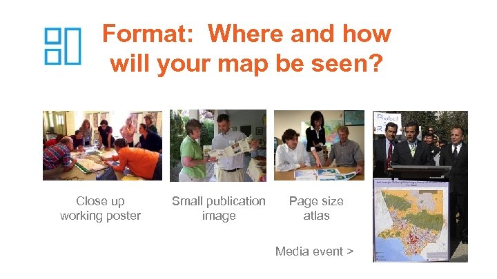 Format: Where and how will your map be seen? Close up working poster Small